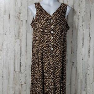 Dressbarn Womens Maxi Dress Brown Sleeveless